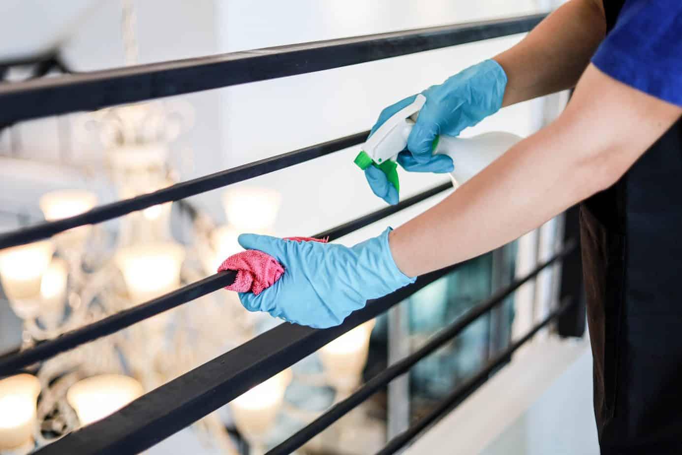 cleaning balcony railing