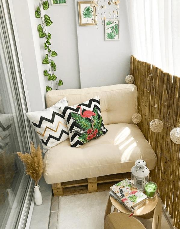 narrow balcony pallet sofa